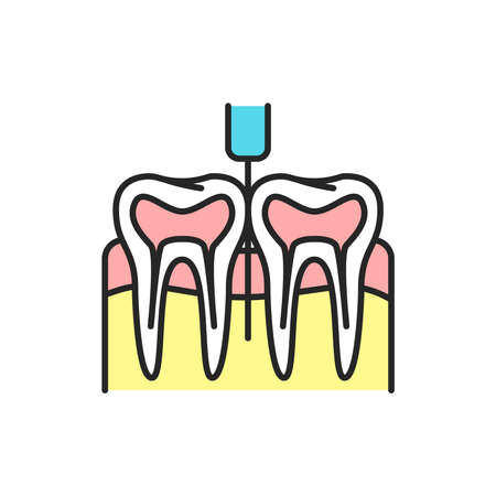 Dental anesthesia color line icon. Pictogram for web page, mobile app, promo. Editable stroke.