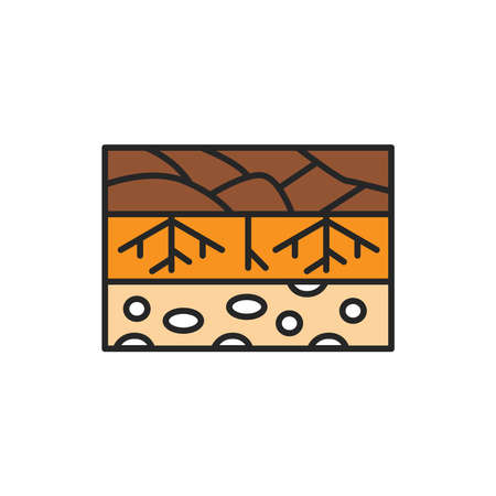 Soil layers color line icon. Pictogram for web page, mobile app, promo. Editable stroke.