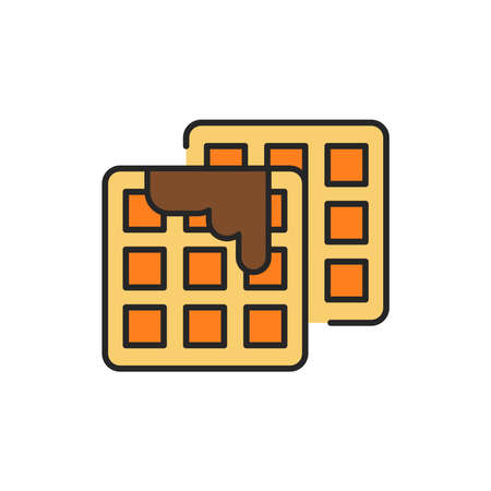 Wafflescolor line icon. Isolated vector element. Outline pictogram for web page, mobile app, promo Ilustrace