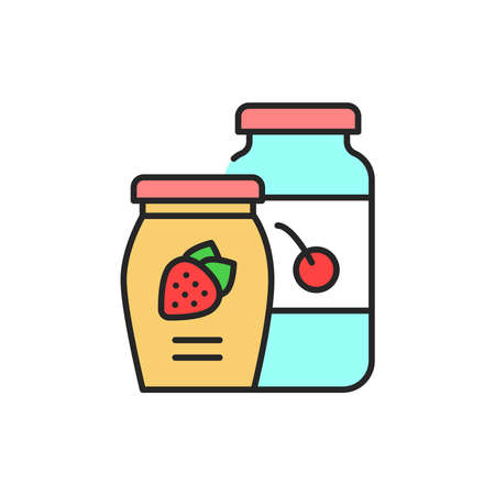 Jam color line icon. Isolated vector element. Outline pictogram for web page, mobile app, promo