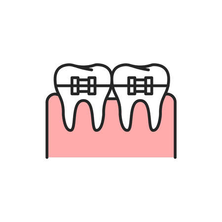 Teeth in braces color line icon. Pictogram for web page, mobile app, promo. Editable stroke.