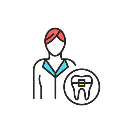 Doctor orthodontist color line icon. Pictogram for web page, mobile app, promo. Editable stroke.