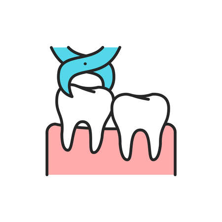 Wisdom tooth extraction color line icon. Pictogram for web page, mobile app, promo. Editable stroke.