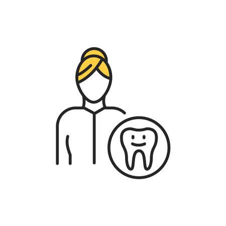 Pediatric dentist color line icon. Pictogram for web page, mobile app, promo. Editable stroke. Ilustrace