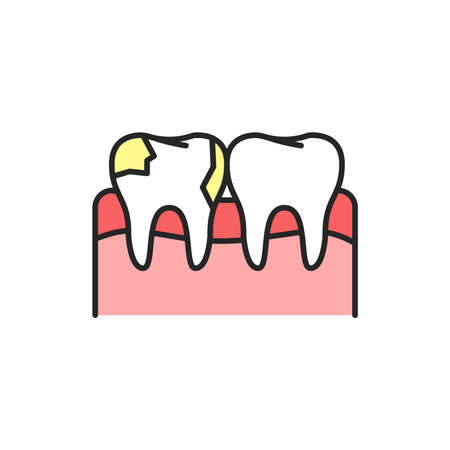 Teeth with caries color line icon. Pictogram for web page, mobile app, promo. Editable stroke.