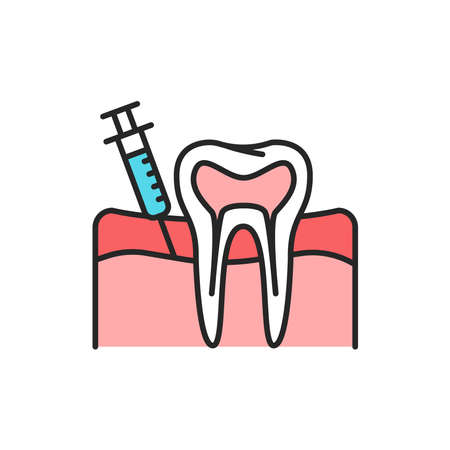 Teeth analgesia color line icon. Pictogram for web page, mobile app, promo. Editable stroke.