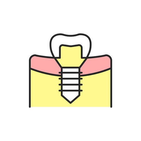 Artificial tooth color line icon. Pictogram for web page, mobile app, promo. Editable stroke.