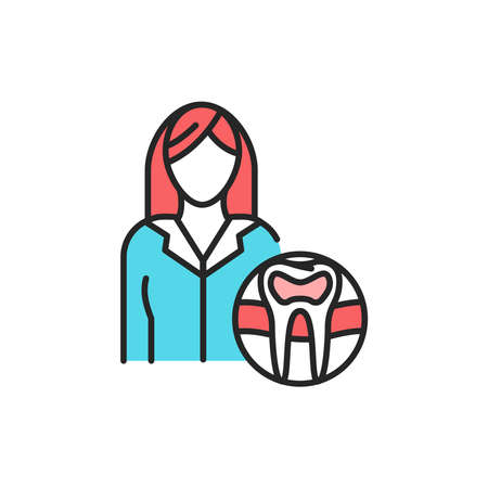 Endodont doctor color line icon. Pictogram for web page, mobile app, promo. Editable stroke.
