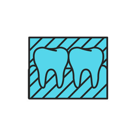 Tooth snapshot color line icon. Pictogram for web page, mobile app, promo. Editable stroke.