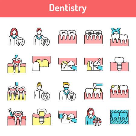 Dentistry color line icons set. Pictograms for web page, mobile app, promo. UI UX GUI design element. Editable stroke.