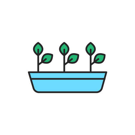 Potted plants color line icon. Pictogram for web page, mobile app, promo. Editable stroke.