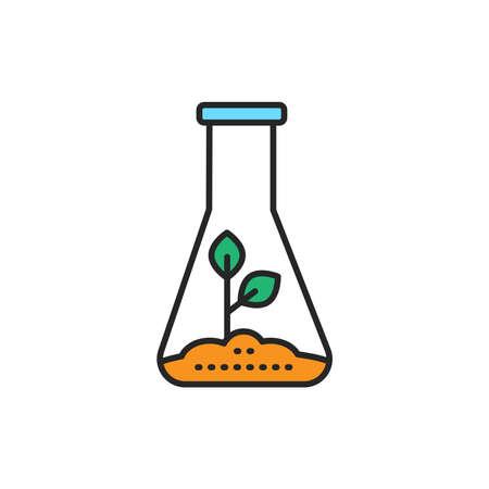 Growing plants in vitro color line icon. Pictogram for web page, mobile app, promo. Editable stroke.