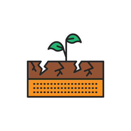 Dry ground color line icon. Pictogram for web page, mobile app, promo. Editable stroke. Ilustrace