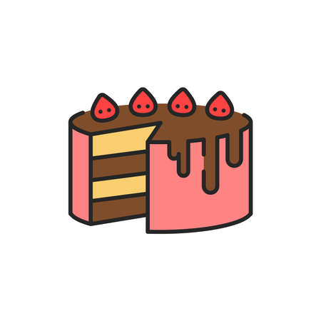 Cake color line icon. Isolated vector element. Outline pictogram for web page, mobile app, promo Ilustrace
