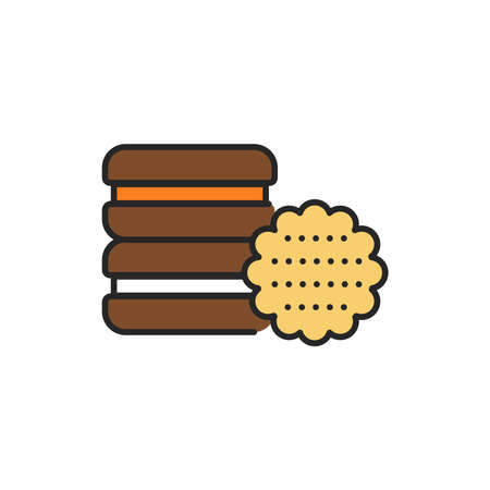 Cookie color line icon. Isolated vector element. Outline pictogram for web page, mobile app, promo