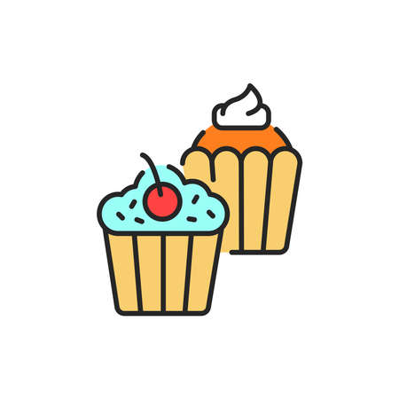 Cupcakes color line icon. Isolated vector element. Outline pictogram for web page, mobile app, promo