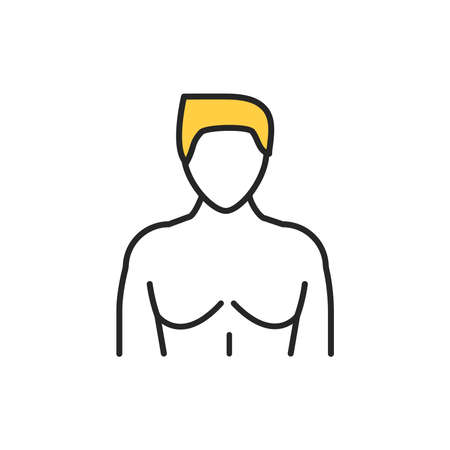 Gynecomastia color line icon. Pictogram for web page, mobile app, promo. Editable stroke.