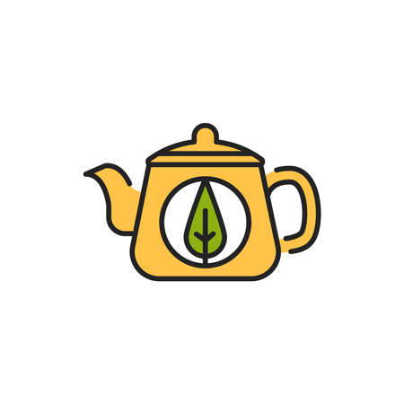 Teapot matcha tea color line icon. Pictogram for web page, mobile app, promo. Ilustrace