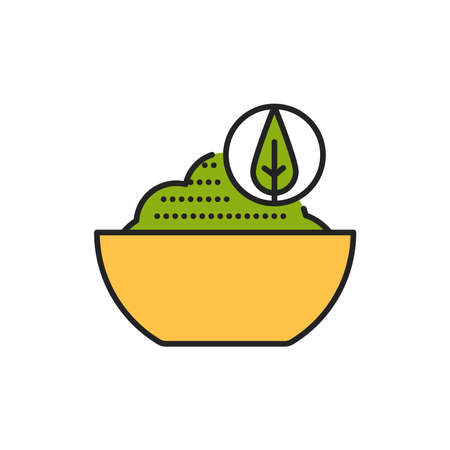 Matcha tea powder color line icon. Pictogram for web page, mobile app, promo.