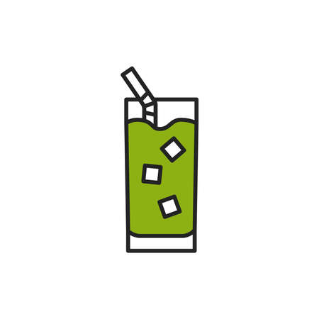 Matcha cold drink color line icon. Pictogram for web page, mobile app, promo.