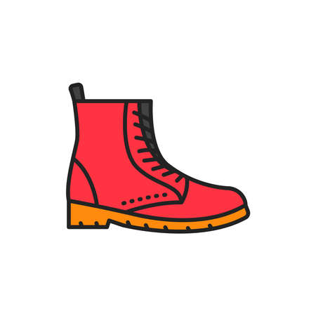 Autumn boot color line icon. Pictogram for web page, mobile app, promo.