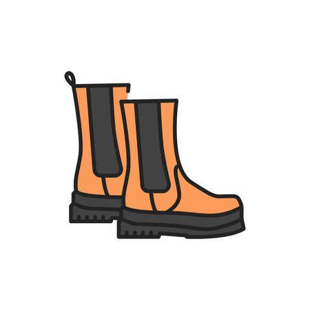 Autumn boots color line icon. Pictogram for web page, mobile app, promo.