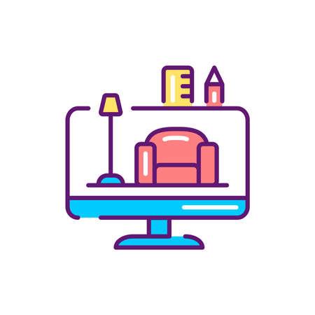 Interior design color line icon. Pictogram for web page, mobile app, promo. Reklamní fotografie