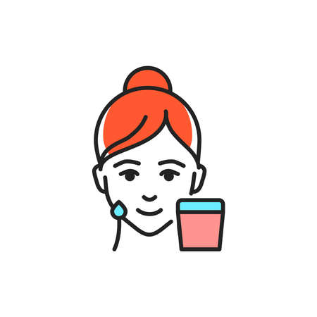 Nutrition, lifting face color line icon. Pictogram for web page, mobile app, promo. Ilustrace