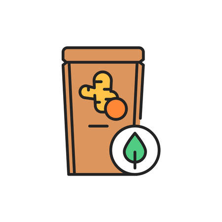 Organic turmeric color line icon. Pictogram for web page, mobile app, promo.