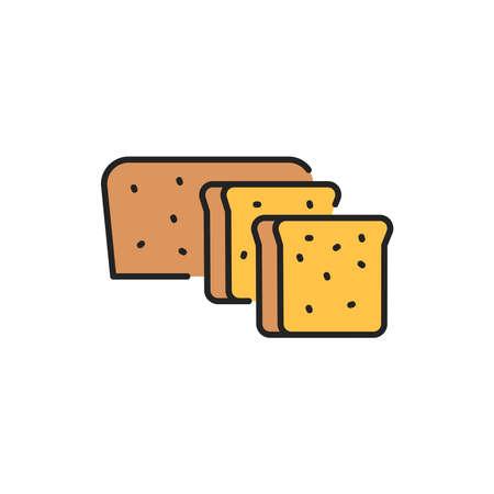 Organic whole grain rye bread color line icon. Pictogram for web page, mobile app, promo. Ilustrace