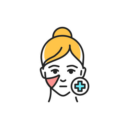 Antikuperosis procedure face color line icon. Pictogram for web page, mobile app, promo.