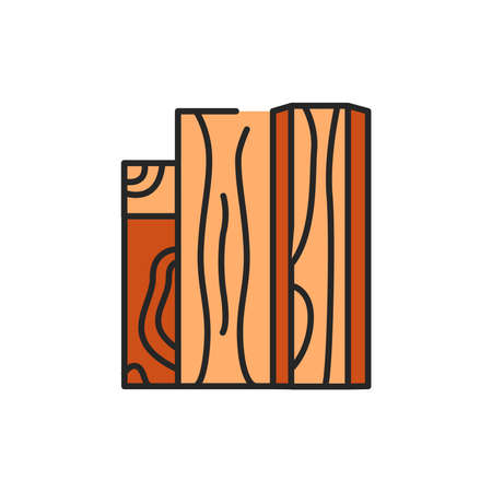 Wood and wood materials color line icon. Pictogram for web page, mobile app, promo. Ilustração