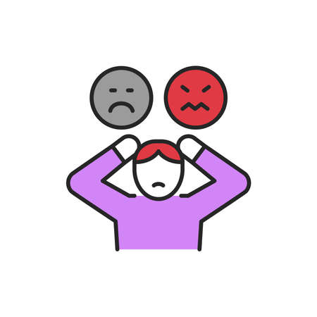 Sadness, anger line color icon. Sign for web page, mobile app