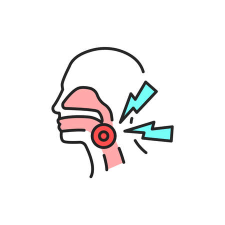 Pain throat line color icon. Sign for web page, mobile app