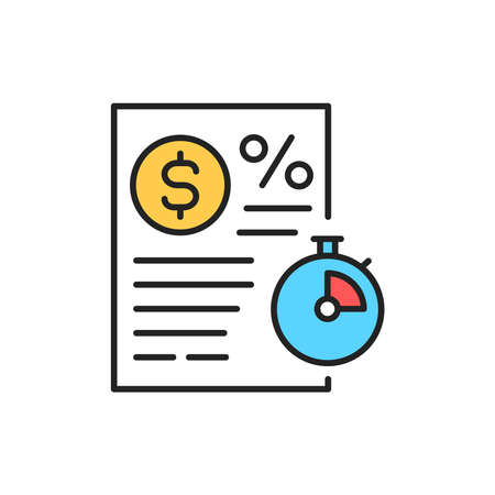 Loan money line color icon. Sign for web page, mobile app  イラスト・ベクター素材