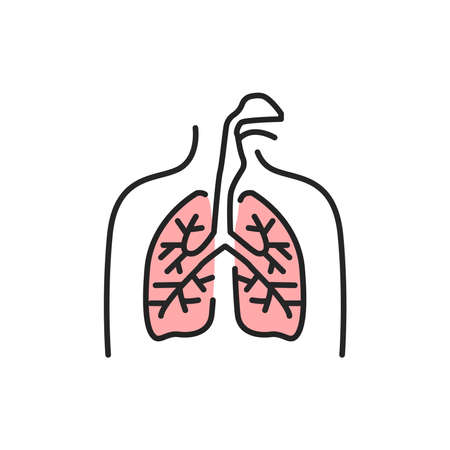 Virus in lungs line color icon. Sign for web page, mobile app Vector Illustration