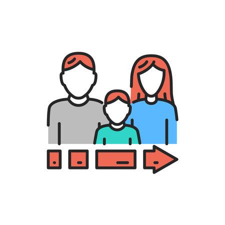 illegal immigrants color line icon. Editable stroke. Vektoros illusztráció