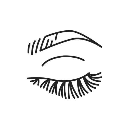 Eyelash extensions color line icon. Pictogram for web page, mobile app, promo. UI UX GUI design element. Editable stroke.