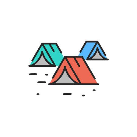 Illegal immigrants camping color line icon. Editable stroke.