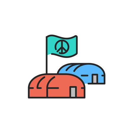 Illegal immigrants camping color line icon. Editable stroke. Vektoros illusztráció
