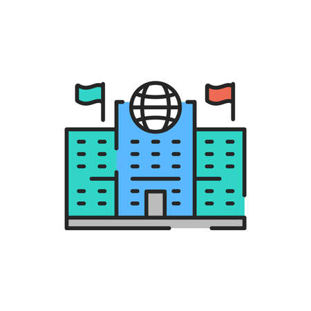 Migration Service color line icon. Editable stroke. Illustration