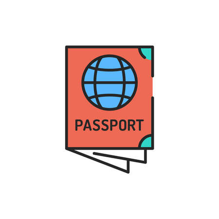Passport color line icon. Sign for web page Editable stroke. Vektoros illusztráció