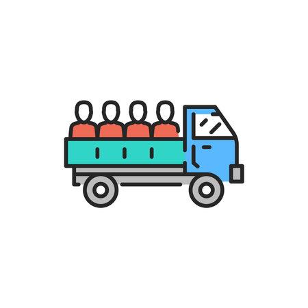 Truck transportation illegal immigrants color line icon. Editable stroke.