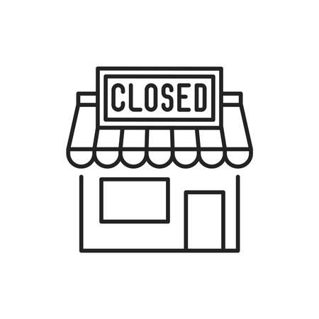 Closed shop line color icon. Sign for web page, mobile app  イラスト・ベクター素材