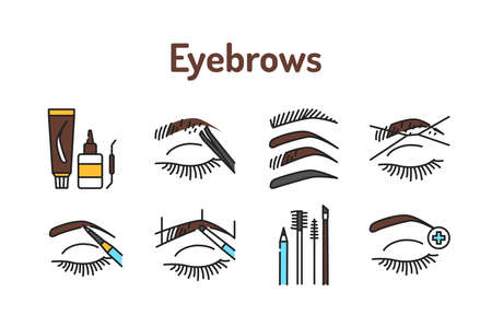 Eyebrows service color line icons set. Pictograms for web page, mobile app, promo. 向量圖像