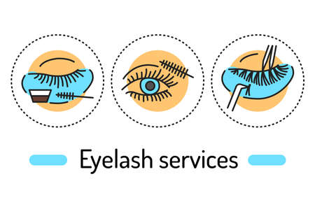 Eyelash services outline concept. Beauty industry line color icons. Pictograms for web page, mobile app, promo