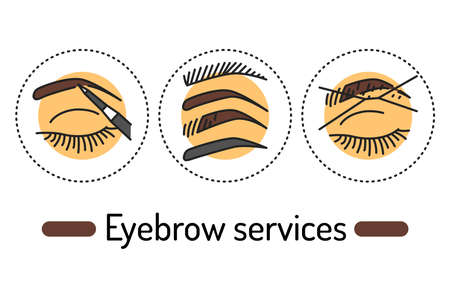 Eyebrow services outline concept. Beauty industry line color icons. Pictograms for web page, mobile app, promo 向量圖像