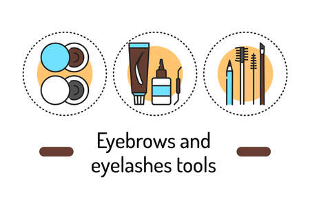 Eyebrows and eyelashes tools outline concept. Beauty industry line color icons. Pictograms for web page, mobile app, promo