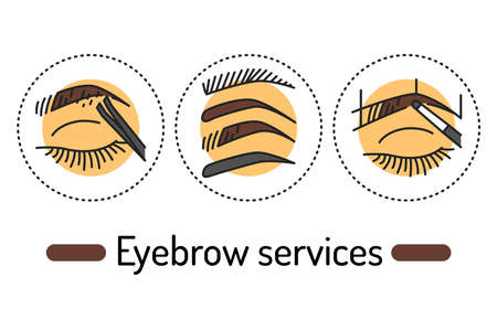 Eyebrow services outline concept. Beauty industry line color icons. Pictograms for web page, mobile app, promo.