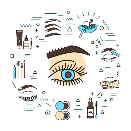 Eyebrows and eyelashes service web banner. Infographics with linear icons on white background. Creative idea concept. Isolated outline color illustration